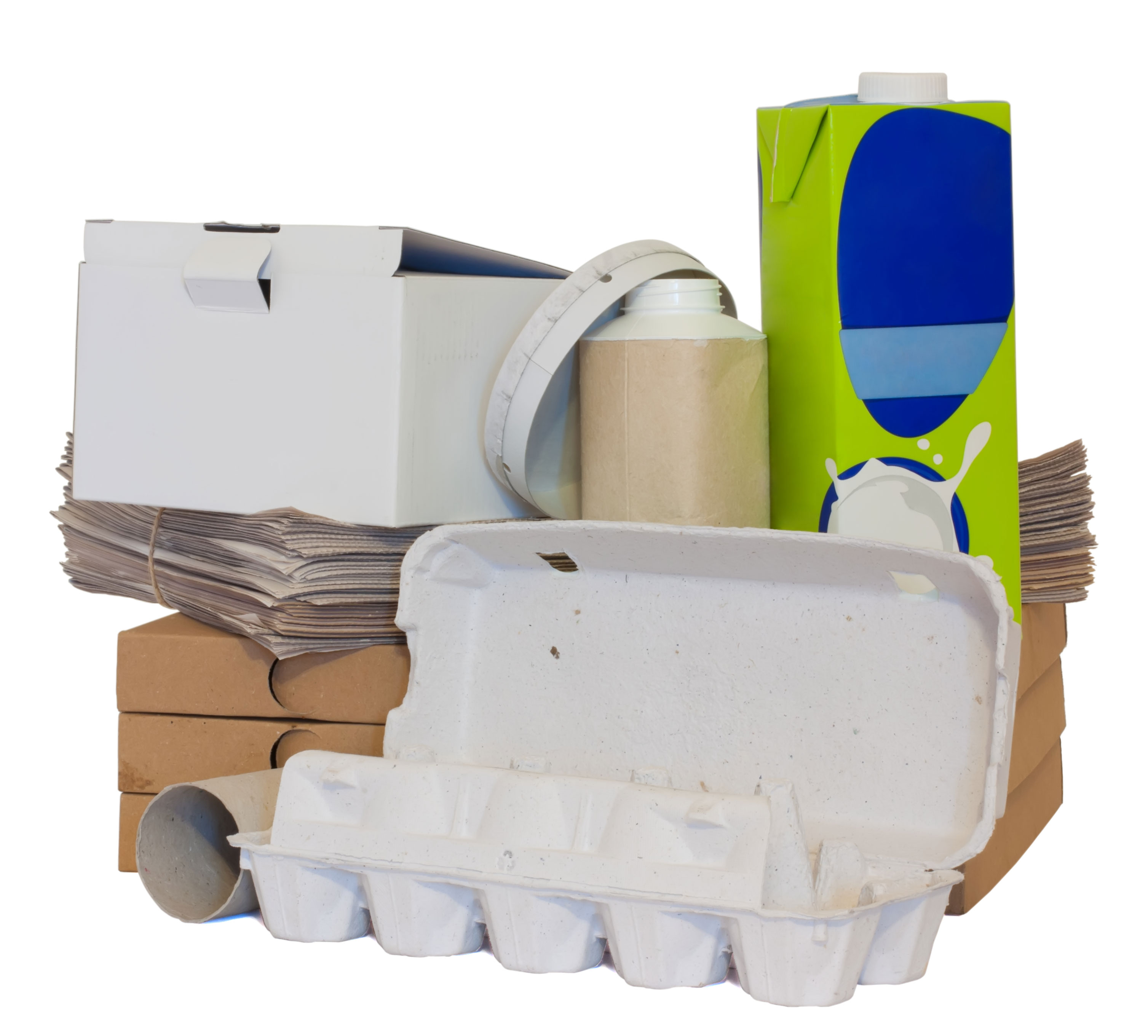 co-mingled recycling curbside pick-up cardboard containers